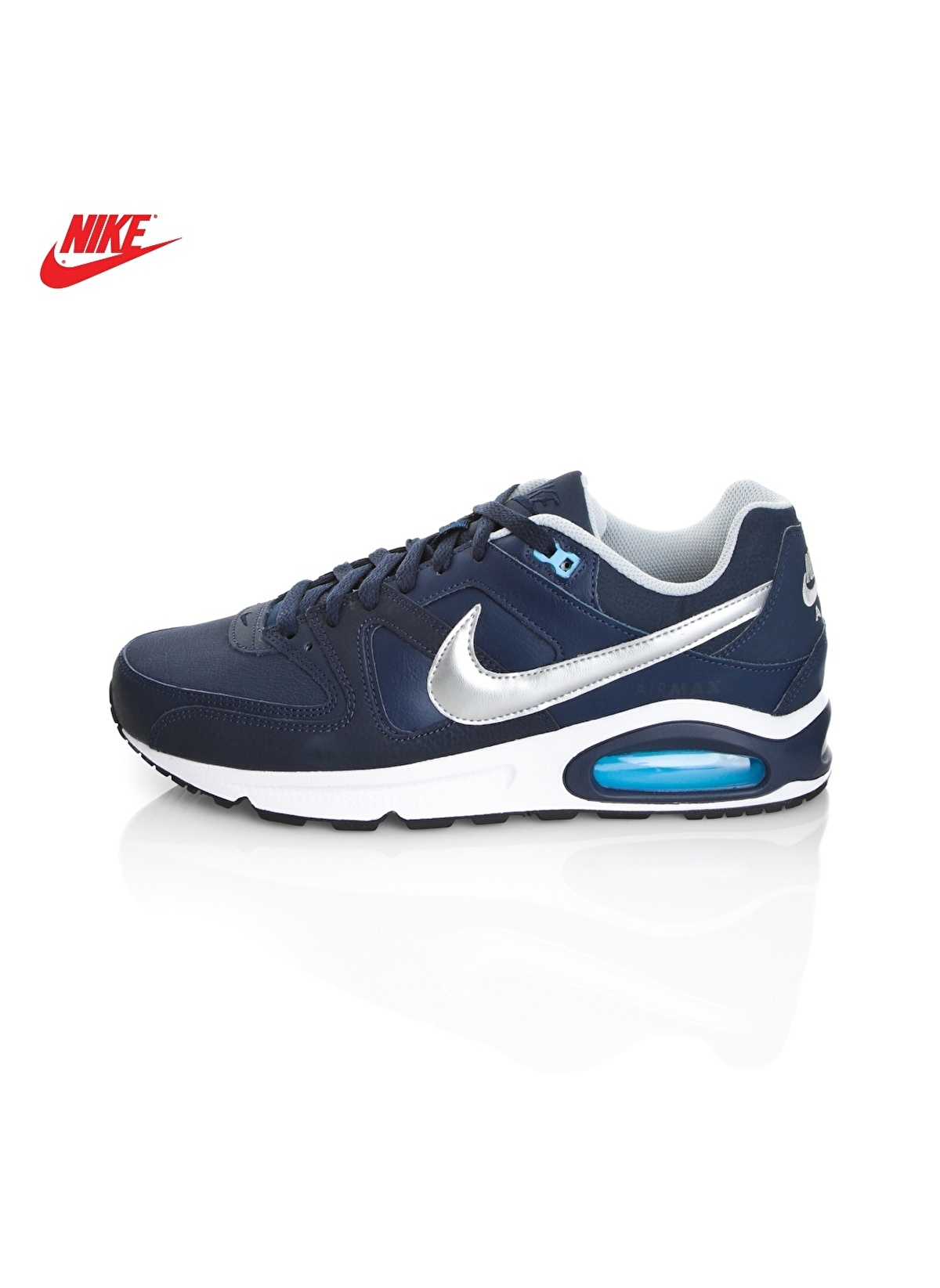 available new products sports shoes Nike Erkek Air Max Command Leather Obsidian/Metallic Silver-Bluec ...